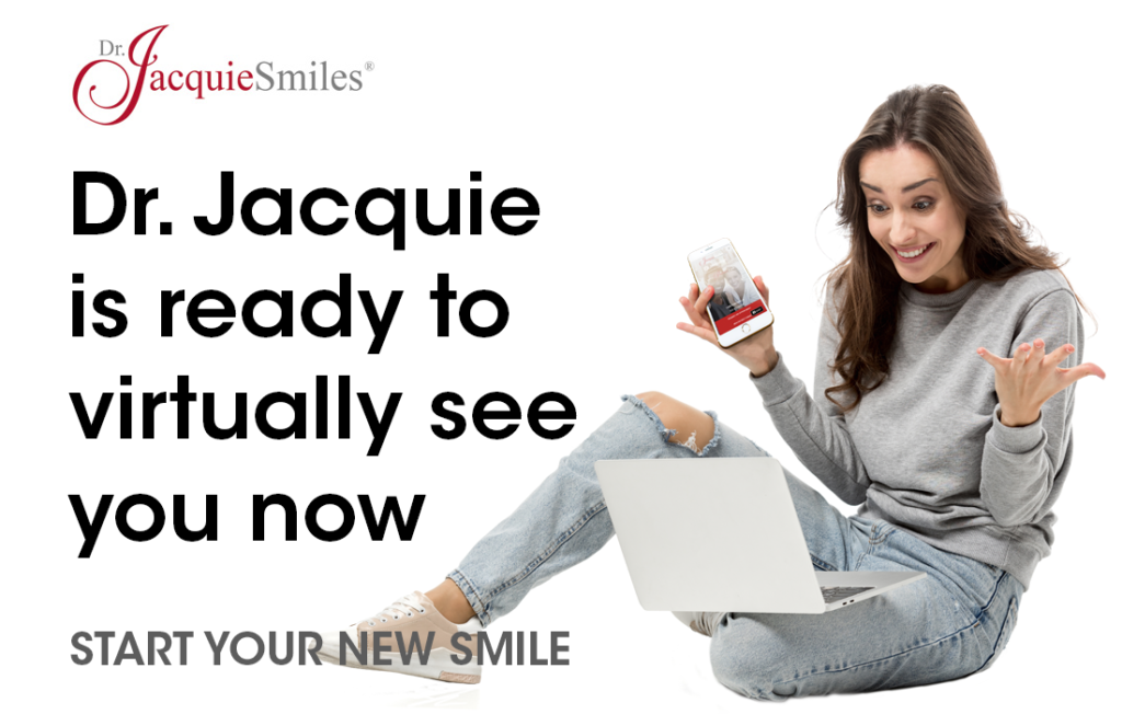 "An excited woman looks at her laptop while holding her smart phone open to dr. Jacquie Smiles website. The text on the picture has Dr. Jacquie's logo and says, ""Dr. Jacquie is ready to virtually see you now. Start your new smile."""